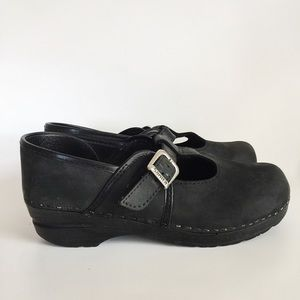 Sanita Mary Jane T-Strap Nubuck Buckle Clogs 38